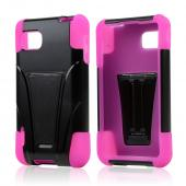 Black Hard Case on Hot Pink Silicone w/ Kickstand for LG Optimus F3
