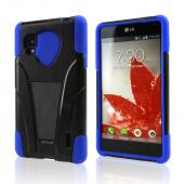Blue on Black Silicone Over Hard Case w/ Stand for LG Optimus G (Sprint)