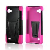 Hot Pink on Black Silicone Over Hard Case w/ Stand for LG Optimus G (Sprint)