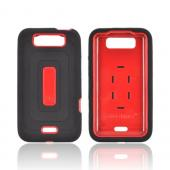 LG Viper 4G LTE/ LG Connect 4G Silicone Over Hard Case w/ Screen Protector - Black/ Red