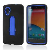 Black Silicone Skin on Blue Hard Case w/ Kickstand for LG Google Nexus 5