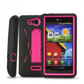 LG Lucid 4G Silicone Over Hard Case w/ Stand - Black/ Hot Pink