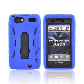Motorola Droid RAZR Silicone Over Hard Case w/ Stand - Blue/ Black