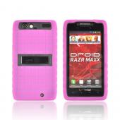 Motorola Droid RAZR MAXX Silicone Over Hard Case w/ Stand - Hot Pink/ Black