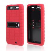 Motorola Droid RAZR MAXX Silicone Over Hard Case w/ Kickstand - Red/ Black