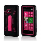 Black Silicone on Pink Hard Case w/ Kickstand for Nokia Lumia 810