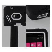 Black Silicone on White Hard Case w/ Kickstand for Nokia Lumia 810