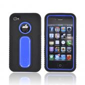 AT&T/ Verizon Apple iPhone 4/ iPhone 4S Silicone Over Hard Case - Black/ Blue