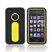 AT&T/ Verizon Apple iPhone 4/ iPhone 4S Silicone Over Hard Case - Black/ Yellow