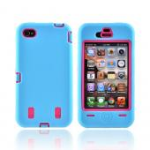 AT&T/ Verizon iPhone 4/ 4S Silicone Over Hard Case - Sky Blue/ Hot Pink