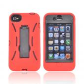 AT&T/ Verizon Apple iPhone 4, iPhone 4S Silicone Over Hard Case w/ Stand - Red/ Black