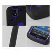 Purple/ Black Silicone Over Hard Case w/ Kickstand for Pantech Flex