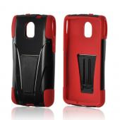 Red/ Black Hard Case on Silicone w/ Kickstand for Pantech Discover
