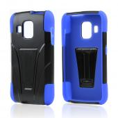 Black Hard Case Over Blue Silicone w/ Kickstand for Pantech Perception