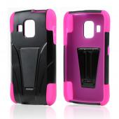 Black Hard Case Over Hot Pink Silicone w/ Kickstand for Pantech Perception