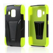 Black Hard Case Over Neon Green Silicone w/ Kickstand for Pantech Perception