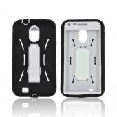Samsung Epic 4G Touch Silicone Over Hard Case w/ Stand - Black/ White
