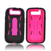 Samsung Galaxy S3 Silicone Over Hard Case w/ Kickstand - Black/ Hot Pink