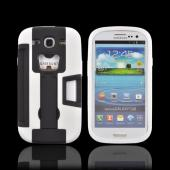 Samsung Galaxy S3 Silicone Over Hard Case w/ Bottle Opener, ID Holder & Stand - Black/ White