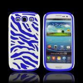 Samsung Galaxy S3 Zebra Shell on Silicone Case - Blue/ White Zebra