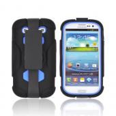 Samsung Galaxy S3 Silicone Over Hard Case w/ Detachable Stand & Belt Clip - Black/ Blue