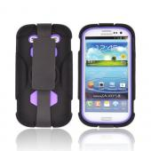 Samsung Galaxy S3 Silicone Over Hard Case w/ Detachable Stand & Belt Clip - Purple/ Black