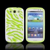 Samsung Galaxy S3 Zebra Shell on Silicone Case - Neon Green/ White Zebra