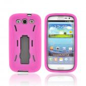 Samsung Galaxy S3 Silicone Over Hard Case w/ Stand - Pink/ Black
