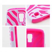 White Zebra Shell on Hot Pink Silicone Skin Case for Samsung Galaxy S4 Active