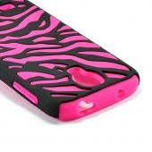Black Zebra Hard Shell on Hot Pink Silicone Case for Samsung Galaxy S4