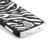 Black Zebra Hard Shell on White Silicone Case for Samsung Galaxy S4