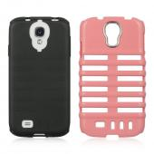 Baby Pink Skeleton Hard Cover on Black Silicone for Samsung Galaxy S4