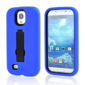 Blue Silicone Over Black Hard Case w/ Kickstand for Samsung Galaxy S4