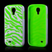 White Zebra Hard Shell on Neon Green Silicone Case for Samsung Galaxy S4