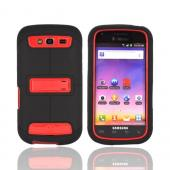 Samsung Galaxy S Blaze 4G Duo Shield Silicone Over Hard Case w/ Screen Protector & Kickstand - Black/ Red