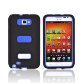 Samsung Galaxy Note Silicone Over Hard Case w/ Screen Protector - Black/ Blue