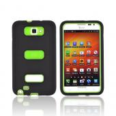 Samsung Galaxy Note Silicone Over Hard Case w/ Screen Protector - Black/ Neon Green