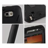 Black Silicone Over Hard Case w/ Kickstand for Samsung Galaxy Note