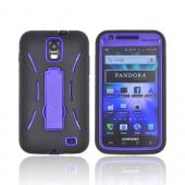 Samsung Galaxy S2 Skyrocket Silicone Over Hard Case w/ Stand - Black/ Purple