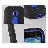 Blue/ Black Silicone Over Hard Case w/ Kickstand for Samsung Galaxy Stellar