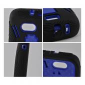 Blue on Black Silicone Over Hard Case w/ Stand for Samsung Galaxy Victory 4G LTE