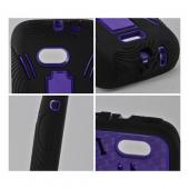 Purple on Black Silicone Over Hard Case w/ Stand for Samsung Galaxy Victory 4G LTE