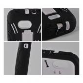 White on Black Silicone Over Hard Case w/ Stand for Samsung Galaxy Victory 4G LTE