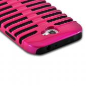 Hot Pink/ Black Hard Cover on Silicone for Samsung Galaxy Note 2