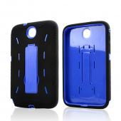 Black Silicone on Blue Hard Case w/ Kickstand for Samsung Galaxy Note 8.0