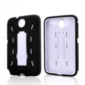 Black Silicone on White Hard Case w/ Kickstand for Samsung Galaxy Note 8.0