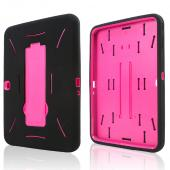 Black Silicone Over Hot Pink Hard Case w/ Kickstand for Samsung Galaxy Tab 3 10.1