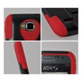 Black Hard Cover on Red Silicone Hybrid Case w/ Kickstand for Samsung ATIV S