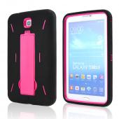 Black Silicone Over Hot Pink Hard Case w/ Kickstand for Samsung Galaxy Tab 3 7.0