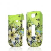White Hawaiian Flowers on Green Rubberized Hard Case for Alcatel One Touch 768